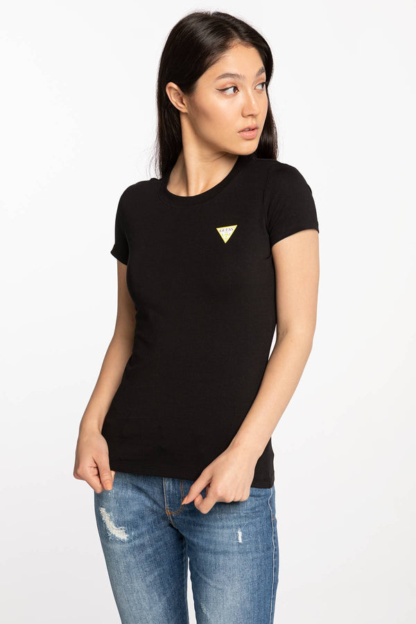 #00082  Guess tričko SS CN MINI TRIANGLE TEE W0BI19J1311-JBLK BLACK