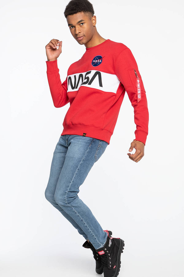 #00082  Alpha Industries oblečení, mikina Alpha Industries NASA Inlay Sweater 308 SPEED RED