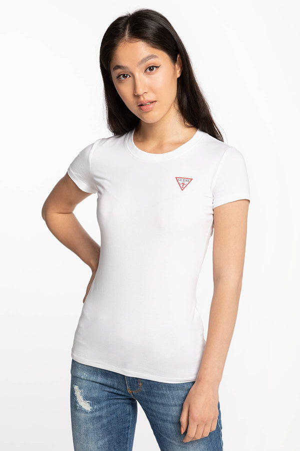 #00083  Guess tričko SS CN MINI TRIANGLE TEE W0BI19J1311-TWHT WHITE