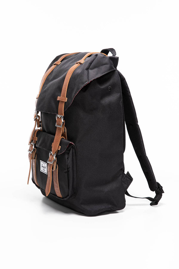 #00006  Herschel tašky a batohy, batoh PLECAK 17 L Little America Mid-Volume -  10020-00001 Black/Tan Synthetic Leather