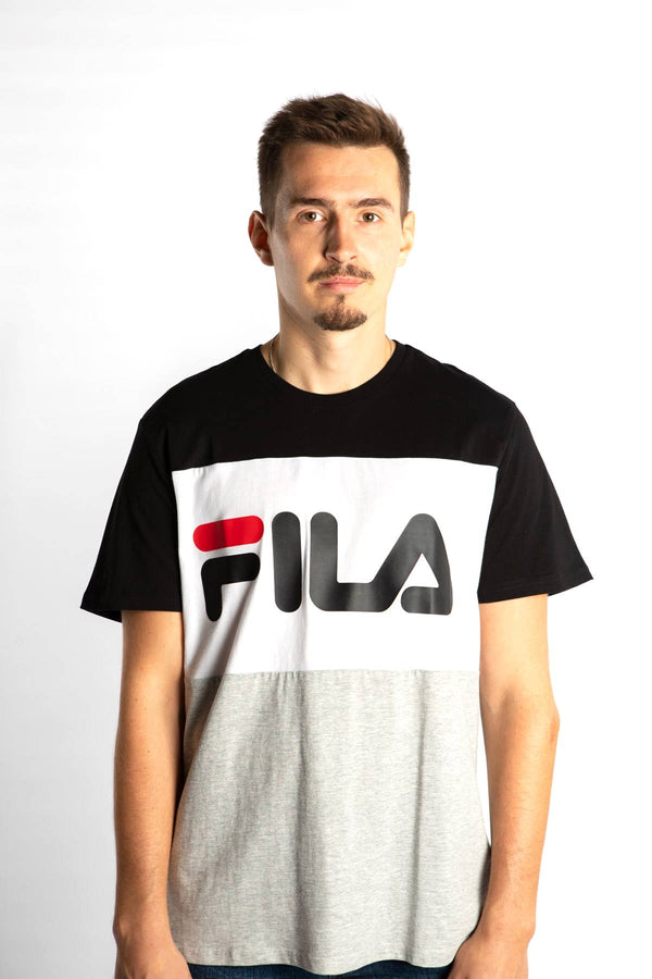 #00018  Fila tričko DAY TEE I85 BLACK/LIGHT GREY MELANGE BROS/BRIGHT WHITE