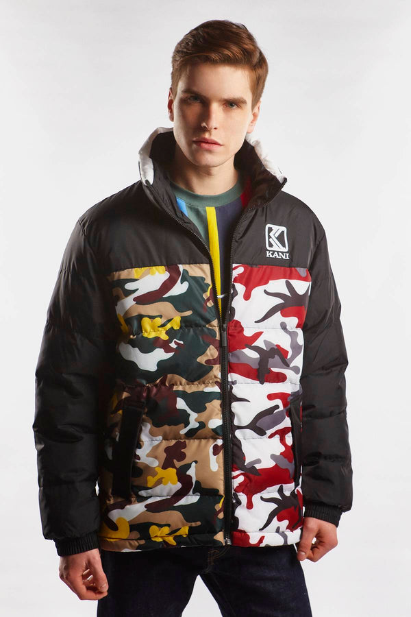 #00008  Karl Kani oblečení, bunda RETRO CAMO PUFFER JACKET 326 BURGUNDY/WHITE/BLACK/YELLOW/BROWN