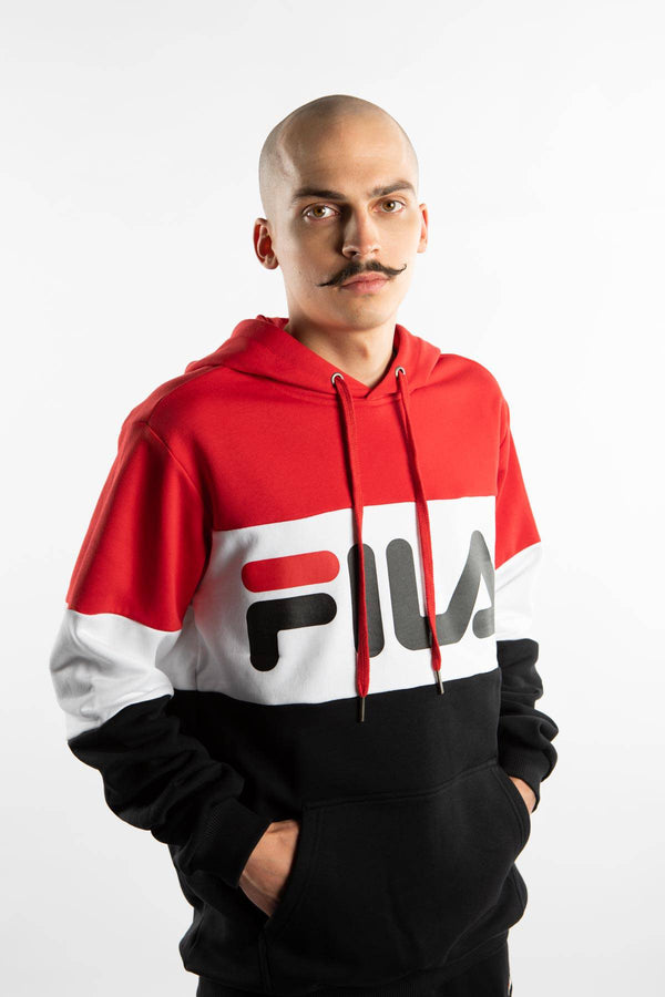 #00009  Fila oblečení, mikina NIGHT BLOCKED HOODY A089 TRUE RED/BLACK/BRIGHT WHITE