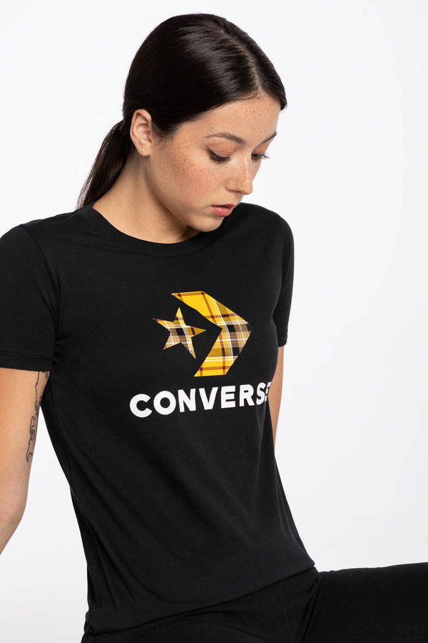 #00083  Converse tričko T-SHIRT 874 W Star Chevr.Plaid In Tee BLACK