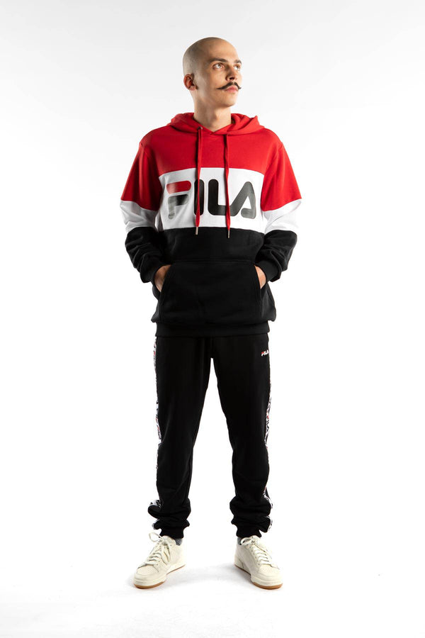 #00013  Fila oblečení, mikina NIGHT BLOCKED HOODY A089 TRUE RED/BLACK/BRIGHT WHITE