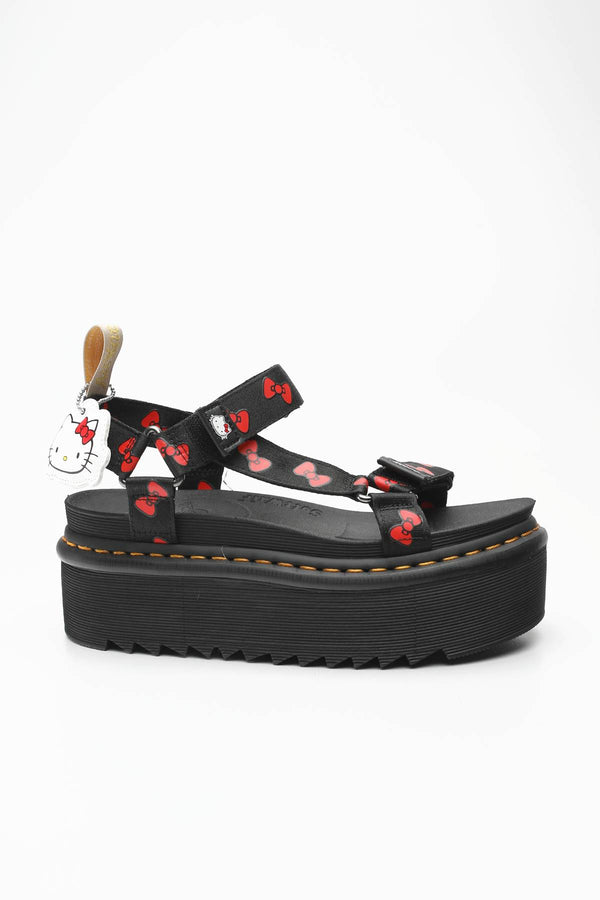 #00101  Dr.Martens obuv VEGAN SANDAL HELLO KITTY BLACK/RED