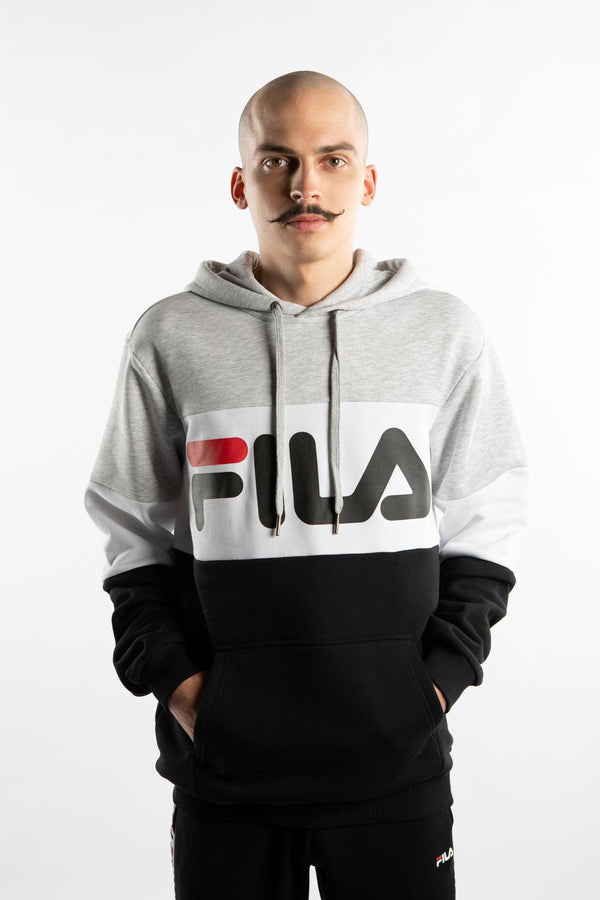 #00004  Fila oblečení, mikina NIGHT BLOCKED HOODY A220 LIGHT GREY BRIGHT MELANGE/BLACK/BRIGHT WHITE
