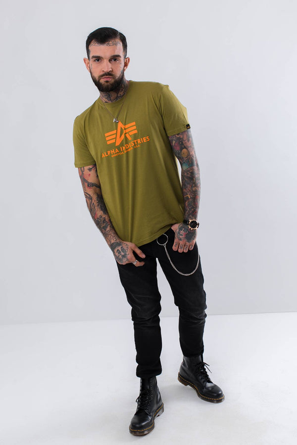 #00075  Alpha Industries tričko BASIC T 440 KHAKI GREEN
