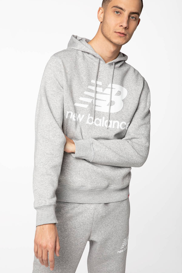 #00056  New Balance oblečení, mikina ESSENTIALS STACKED LOGO PO HOODIE NBMT03578AG GREY