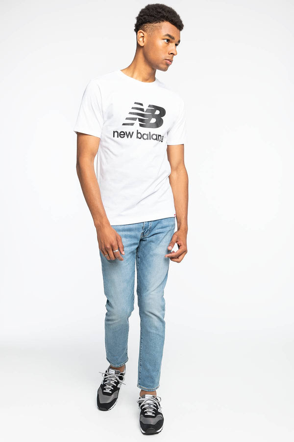 #00003  New Balance tričko ESSENTIALS STACKED LOGO T WT NBMT01575WT BLACK/WHITE