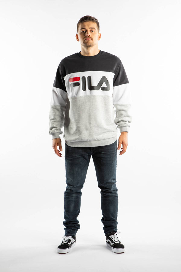 #00011  Fila oblečení, mikina STRAIGHT BLOCKED CREW I85 BLACK/LIGHT GREY MELANGE BROS/BRIGHT