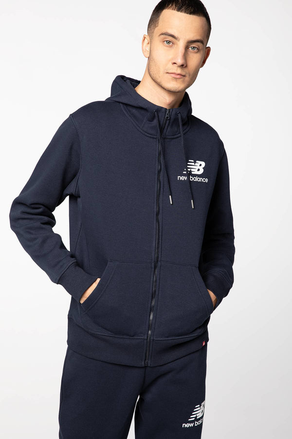 #00032  New Balance oblečení, mikina ESSENTIALS STACKED FULL ZIP HOODIE NBMJ03580ECL NAVY