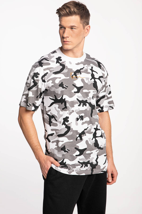 #00024  Karl Kani tričko KK Small Signature Camo Tee 6069897 BLACK/GREY/WHITE