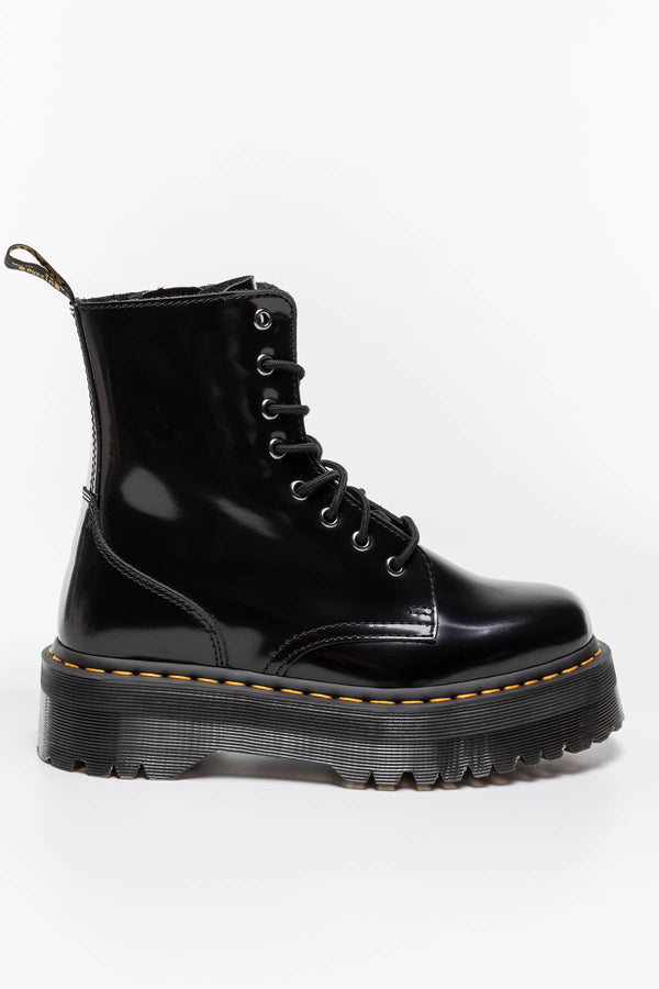 #00030  Dr.Martens obuv, kotníkové boty JADON PLATFORM BOOTS BLACK POLISHED SMOOTH BLACK POLISHED SMOOTH