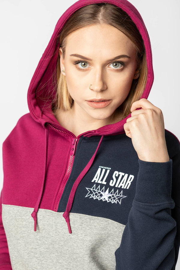 #00167  Converse oblečení, mikina ALL STAR CROPPED HOODIE A03 ROSE MAROON MULTI