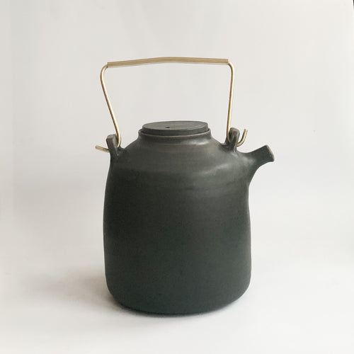 Midnight Black Ritual Teapot with Brass Handle