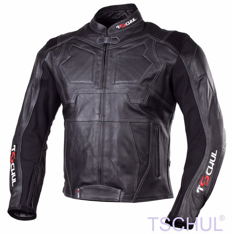 (0850) TSCHUL Racing Motorrad Lederjacke *PREMIUM-QUALITY* All Black