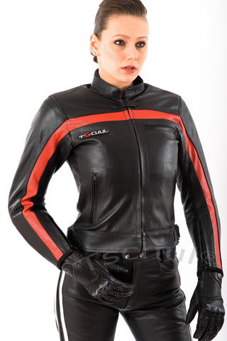 5700 Damen Lederjacke Black-Red