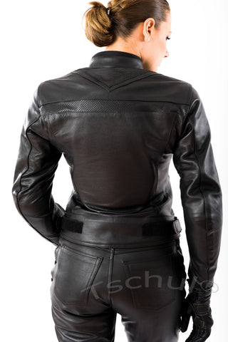 5700 Damen Lederjacke All Black