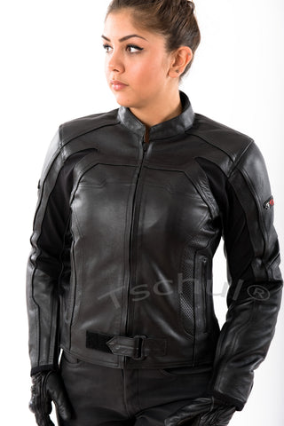 840 Damen Lederjacke All Black