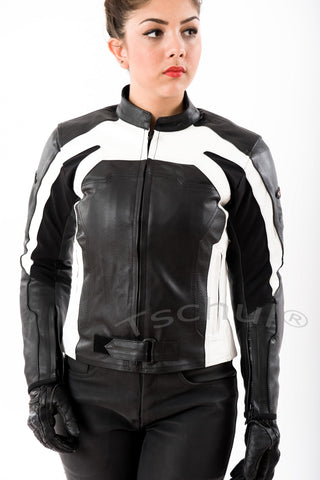 840 Damen Lederjacke Black-White