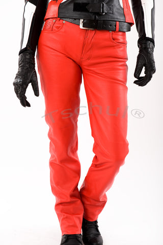 411 Damen-Lederhose Red