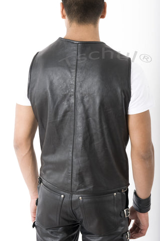 "710 Herren Lederweste ""Simple Black"""