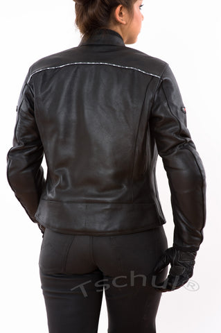 838 Damen Lederjacke All Black