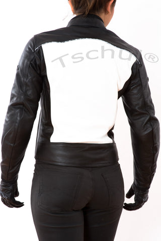 838 Damen Lederjacke Black White