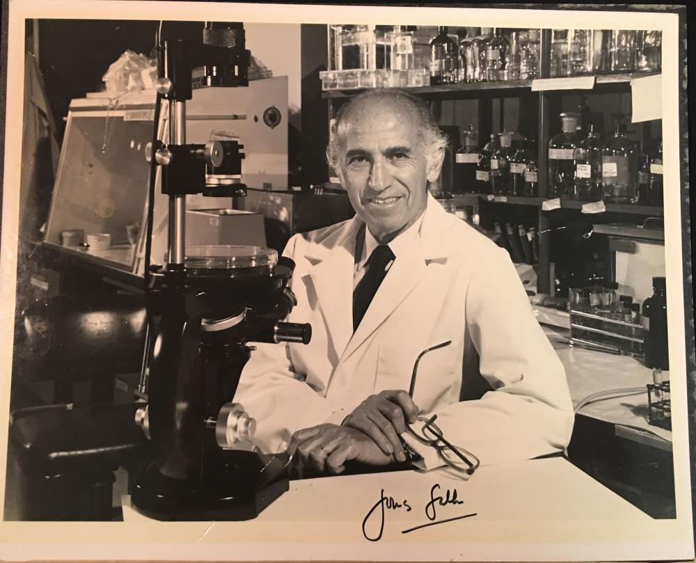 Dr. Jonas Salk Polio Vaccine Lab Photo Signed Auto 8x10