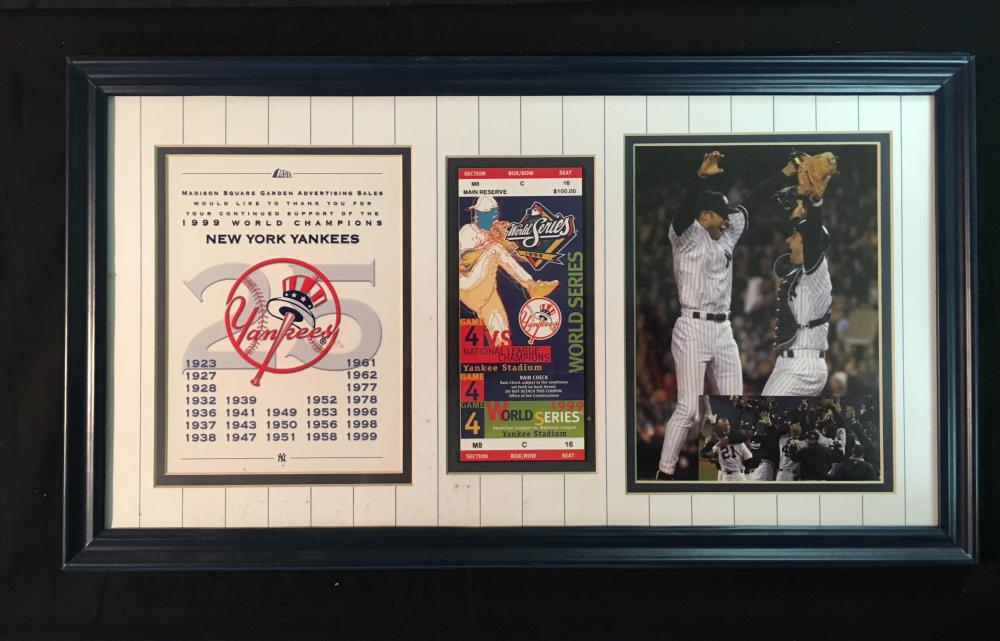 New York Yankees 1999 World Series Game 4 Framed Display w/ Full Game Ticket