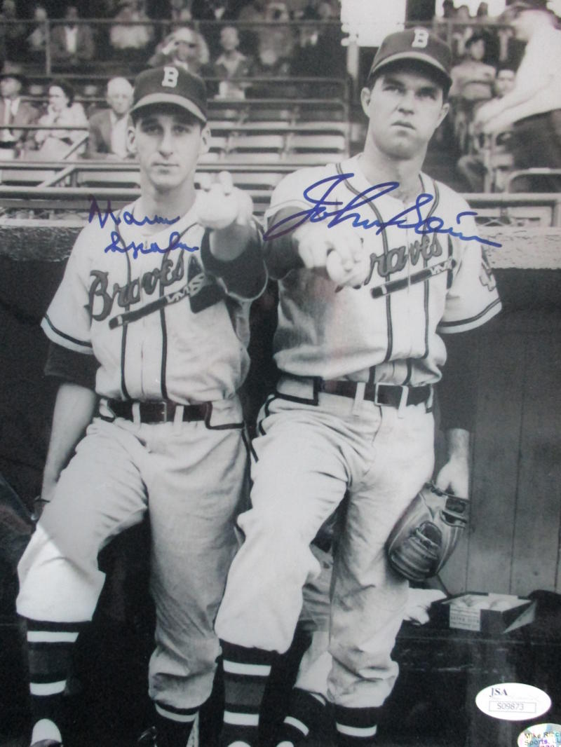 Warren Spahn & John Sain Braves Signed Auto 8x10 Photo JSA  S09873