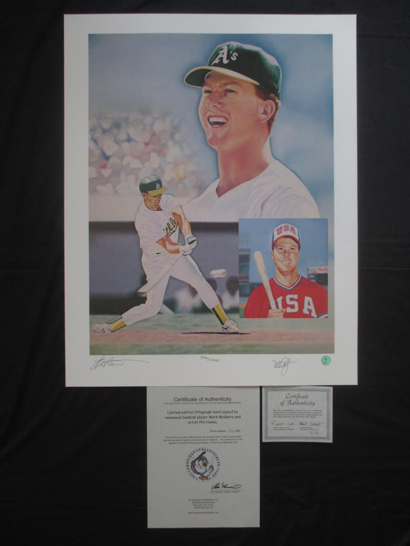 "Phil Hanks ""Mark McGwire"" Signed Auto 22x28  Limited Edition Lithograph 706/1000"
