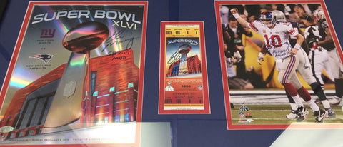 Eli Manning Signed Auto Super Browl XLVI Ticket Program Photo Collage all With SB XLVI MVP inscription Steiner COA