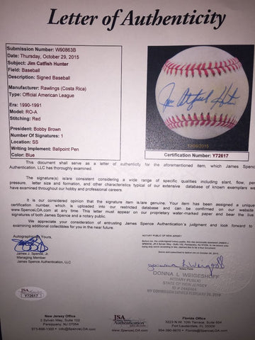Hand-Signed Jim Catfish Hunter Baseball with JSA COA
