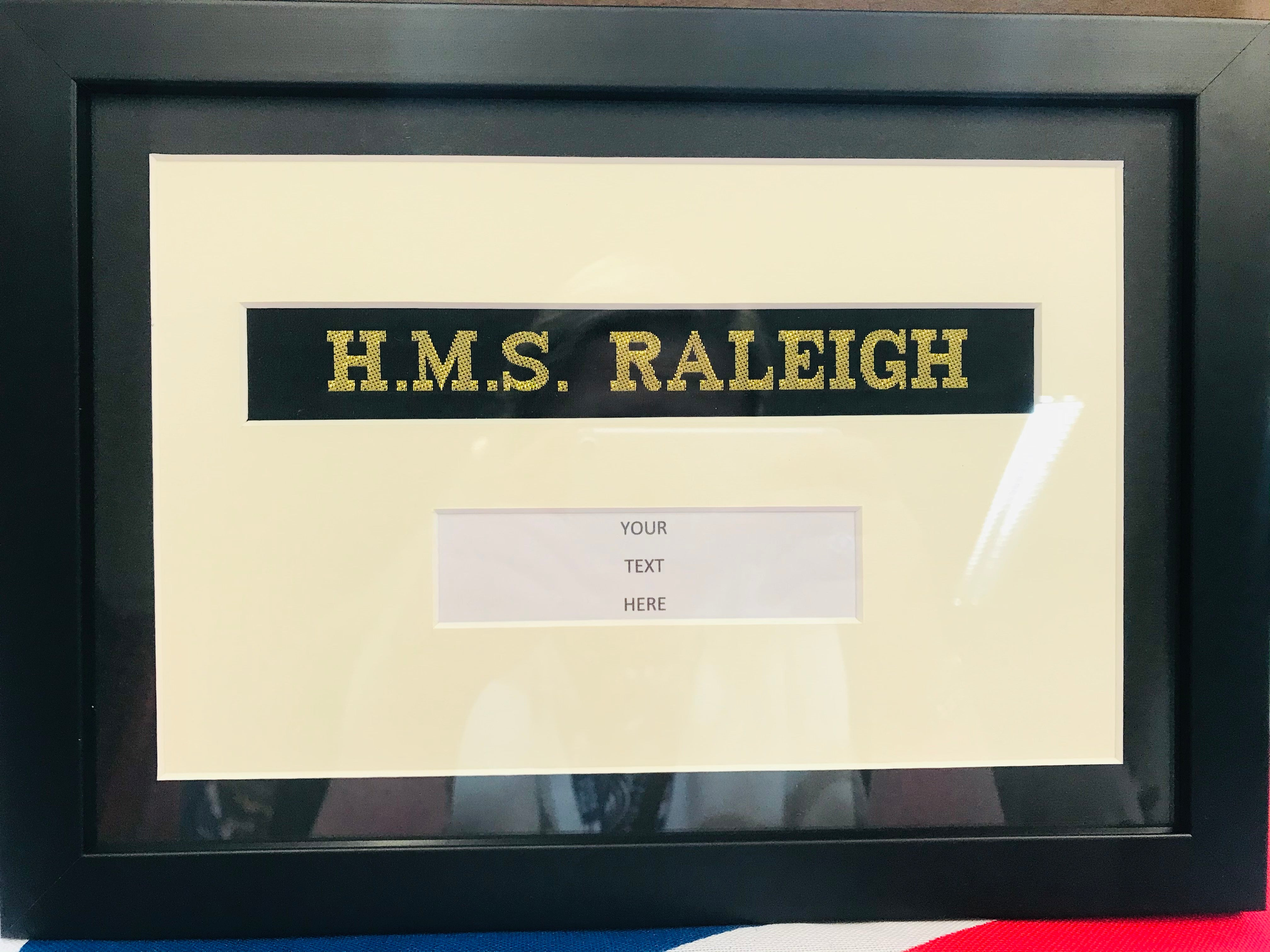 Framed Cap Tally with Text