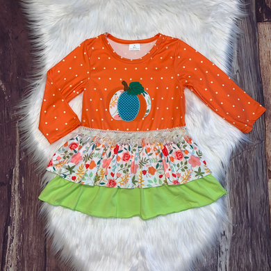 Embroidered Pumpkin Polka Dot Dress