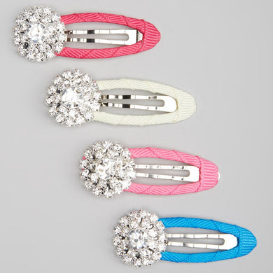 Rhinestone Pink Snap Hair Clips - Set of 4