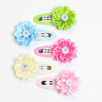 Dainty Floral Faux-Rhinestone Pastel Hair Clips - Set of 5
