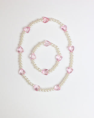 Ivory Beaded Stretch Necklace & Bracelet Set with Hearts