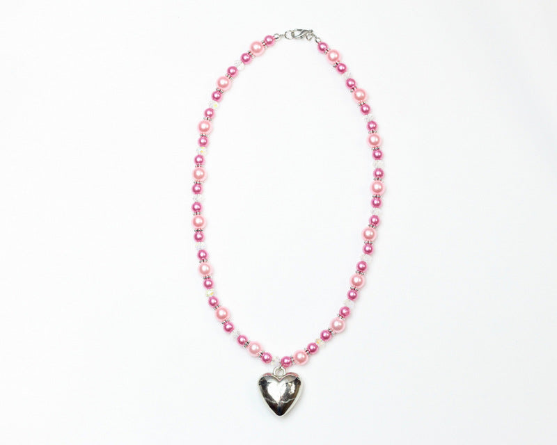 Pink Bead Necklace with Heart Charm