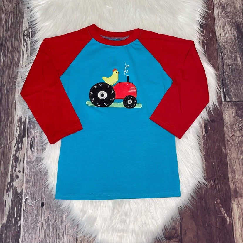 Embroidered Tractor Red and Blue Raglan