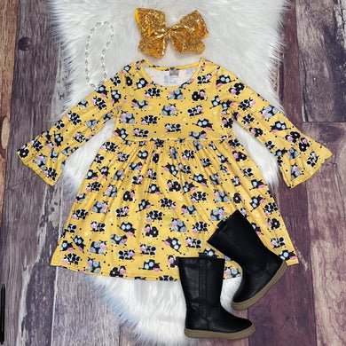 Yellow Cow Print Bell Sleeve Dress