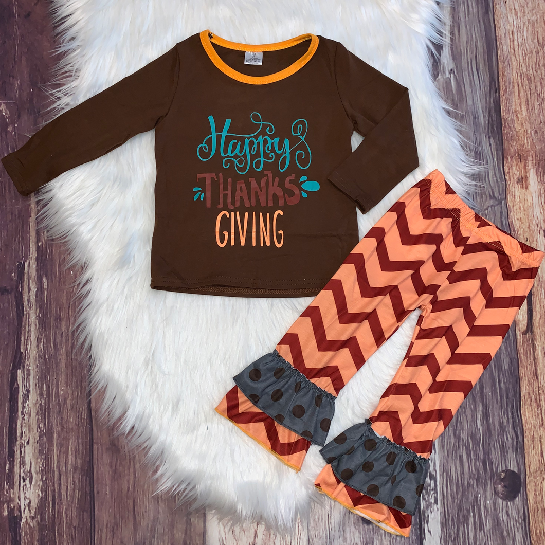 Happy Thanksgiving Orange Zigzag Bell Set