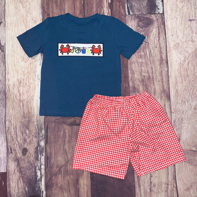 Embroidered Crab Party Boy's Short Set