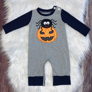 Embroidered Halloween Spider Romper