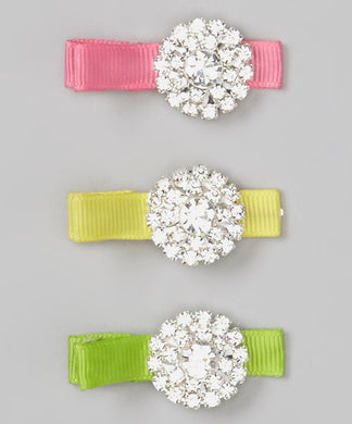 Rhinestone Bright Hair Clips - Set of 3