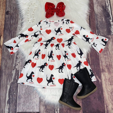 Dino Rawr Valentine Heart Dress