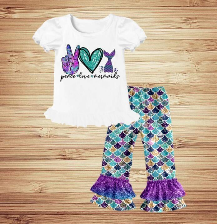 Peace Love Mermaids-Ruffle Set