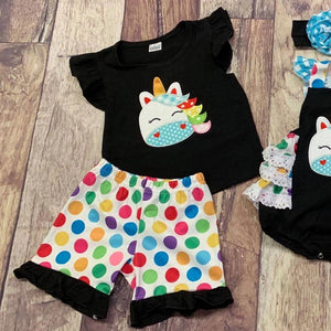 Black Polka Dot Embroidered Unicorn
